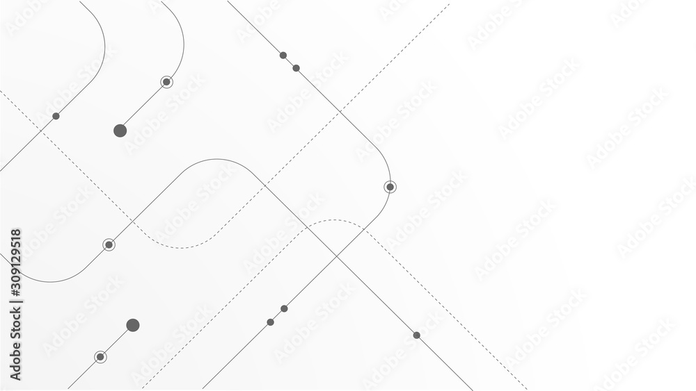 Obraz Abstract geometric Circuit connect lines and dots.Simple technology graphic background.Illustration Vector design Network technology and Connection concept. fototapeta, plakat