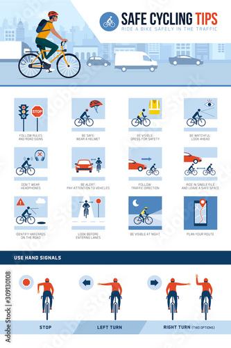 Safe cycling tips for riding safely in the city street Billede på lærred