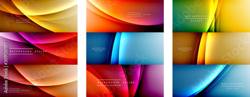 Set of wave liquid style lines with shadows and light on gradient backgrounds. Trendy simple fluid color gradient abstract backgrounds with dynamic straight shadow line effect