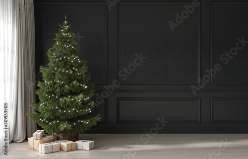 Slika na platnu Festive interior in gray and beige with a minimalistic Christmas tree