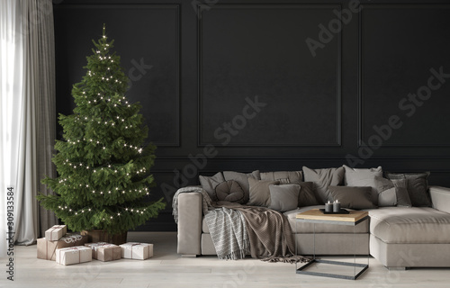 Festive living room with a beige cozy sofa and a Christmas tree with gifts Fototapeta