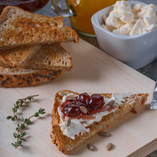 Toast With Cream Cheese, Jam A...
