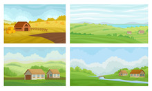 Countryside Landscapes Vector Set. Rural Area Graphic Collection