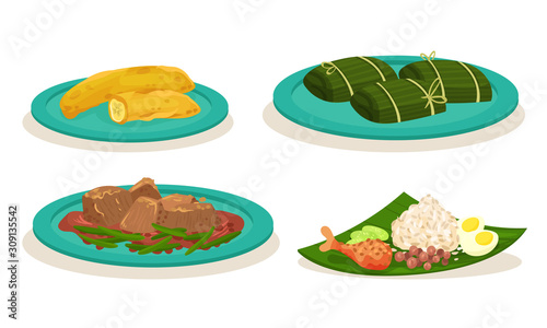 Cuadros en Lienzo Malaysian Cuisine Dishes and Meals Vector Set