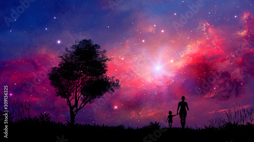 Foto op Canvas Crimson Mother and daughter walk in landscape with tree and colorful nebula. Parents concept background. Elements furnished by NASA. 3D rendering