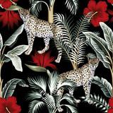 Tropikalny rocznika botaniczny bananowiec, palma, czerwony kwiat hibiskusa i lampart kwiatowy zielony palm pozostawia wzór czarne tło. Tapeta egzotycznej dżungli. - 309138560