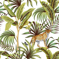 Fototapeta Liście Tropical vintage banana tree, leopard floral green palm leaves seamless pattern white background. Exotic jungle wallpaper.