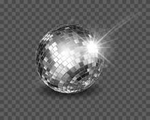Disco Ball. Shiny Silver Spher...