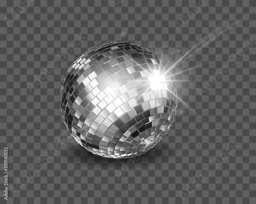Fototapeta Disco ball. Shiny silver sphere isolated on a transparent background. obraz
