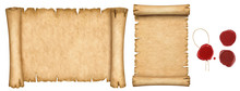 Set Of Old Papers And Vintage Manuscript And Papyrus Scroll With Wax Seals Isolated On White Background.