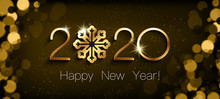 Happy New Year 2020. Gold Shining Design Numbers And Snowflake, Isolated White Text. Creative Brown Blurred Background. Stars And Circles. Futuristic Design. Elements For Calendar And Greeting Card