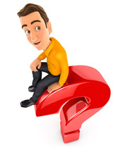 3d Man Sitting On Top Of Question Mark