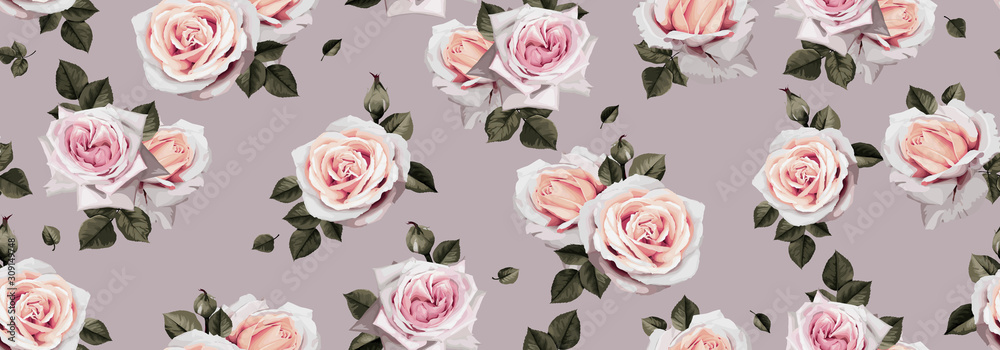 Fototapeta Seamless floral pattern with flowers. Template design for textiles, interior, clothes, wallpaper. Vector illustration art
