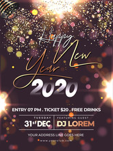 Happy New Year 2020 Celebration Flyer Design With Party Popper Falling Glitter On Brown Bokeh Lighting Effect Background.