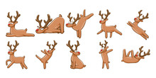 Reindeer Character Vector Set Collection Graphic Clipart Design