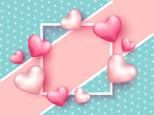 Glossy Pink Hearts Decorated Empty Square Frame On Turquoise Polka Dots Background.