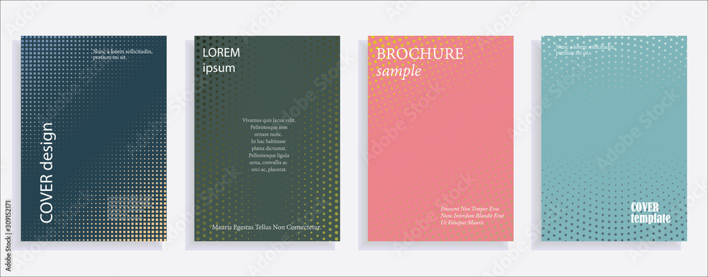 Fototapeta Minimalistic cover design templates. Layout set for covers of books, albums, notebooks, reports, magazines. Star, dot halftone gradient effect, flat modern abstract design Geometric mock-up texture