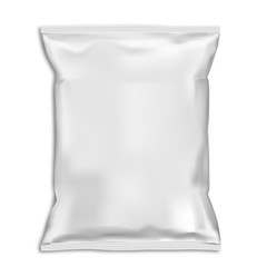 Snack bag pillow pouch mock up. White food pack blank. Foil sachet vector template isolated on backaground. Plastic polythene closed 3d container ready for advertising. Potato chip packet
