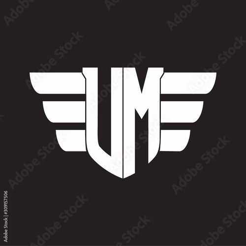 Photo UM Logo monogram with emblem and wings element design template