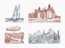 Landscape With A Royal Castle In The Meadow. Fortress And Dirigible, Zeppelin, Mountain And Sailboat. Graphic Monochrome Landscape. Engraved Hand Drawn Old Sketch. Background For Poster, Banner.