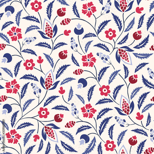 Vászonkép Blue and Red Traditional Chintz Floral Vector Seamless Pattern