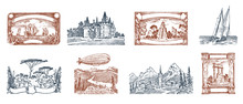 Vintage Postage Stamps. Ancient Landscapes, Dragon And Sailing Ship. Retro Old Sketch. Monochrome Postcard. Hand Drawn Engraved Retro Mark, Frames Collection For Print Banner, Poster And Logo