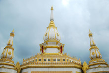 The Pagoda With Cloudy Sky As Background, Pha Nam Thip Thepprasit Wanaram Temple, Roi Et, Thailand.