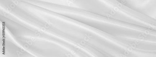 Fényképezés Smooth elegant white silk or satin luxury cloth texture as wedding background