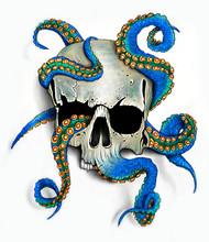 Hand Drawn Skull,octopus Illustration.T-shirt Print.Colorful Tattoo Design.Digital Painting