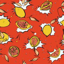 Lemon Fresh Pop Art  Pattern Modern Juicy Citrus Fruit, Comic Style Art, Carton Food Print On Contrast Orange Background.