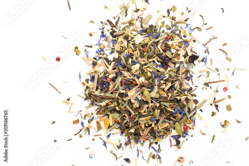 Herbal tea on a white background. Top view.