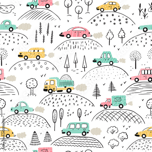 cartoon-transportation-background-for-kids-vector-seamless-pattern-with-doodle-toy-cars-and-nature-with-hills-and-trees