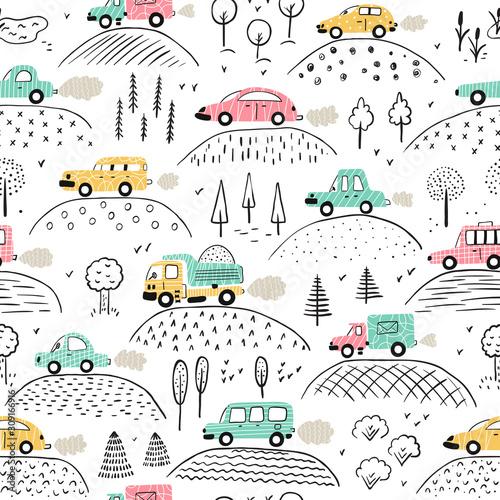 tlo-kreskowka-transport-dla-dzieci-wektorowy-bezszwowy-wzor-z-doodle-zabawkarskimi-samochodami-i-natura-z-wzgorzami-i-drzewami