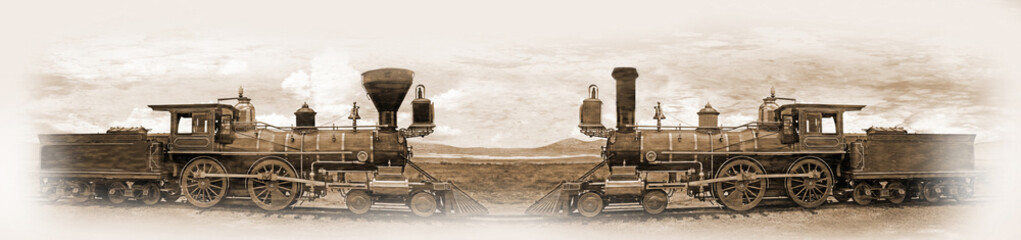 Fototapeta na wymiar Simulated old photograph of the railway engines meeting at the Golden Spike after completion of the transcontinental railroad
