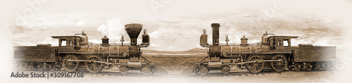 Fotografía Simulated old photograph of the railway engines  meeting  at the Golden Spike af