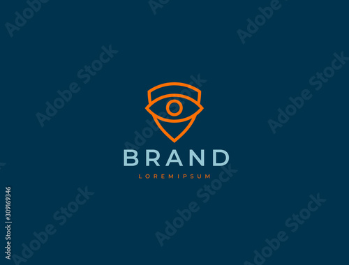 Foto  Eye and shield monitoring logo icon