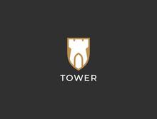 Castle Shield Logo. Tower, For...