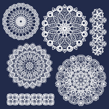 Set Of Vector Lace Round Ornam...