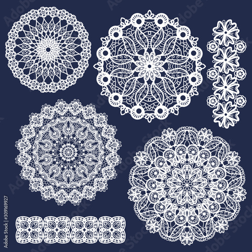 Fotografía Set of vector lace round ornaments and patterns