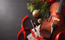 Violin With Bow And Sheet Musi...