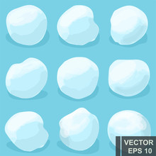 Snowball Set. Round. Winter. For Your Design.
