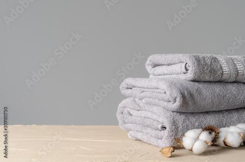Cotton soft towels front view, copy space Fototapeta