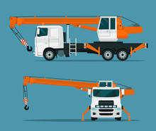Truck Crane Set. Side And Fron...