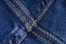 Blue Jeans Fabric Texture With Seam