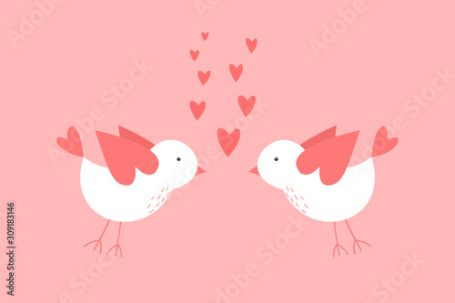 Photo Vector Valentines day greeting card with a couple of lovely birds with heart sha