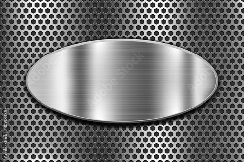 Fototapeta Metal oval shield on perforated background obraz