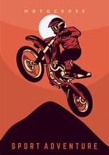 Motocross Jump Design Poster Vector Illustration Vintage Retro