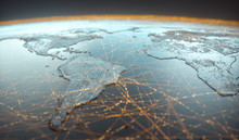 Globalized World, The Future Of Digital Technology. Connections And Cloud Computing In The Virtual World. World Map With Satellite Data Connections. Connectivity Across The World.