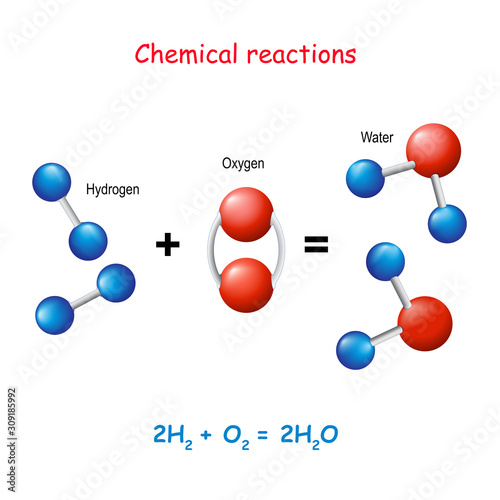 Fotografie, Tablou Water molecule.  Reaction of Hydrogen and Oxygen in New compounds