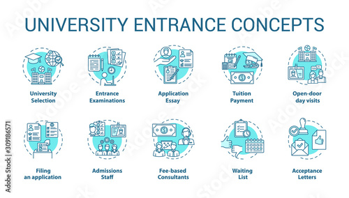 Cuadros en Lienzo University entrance concept icons set
